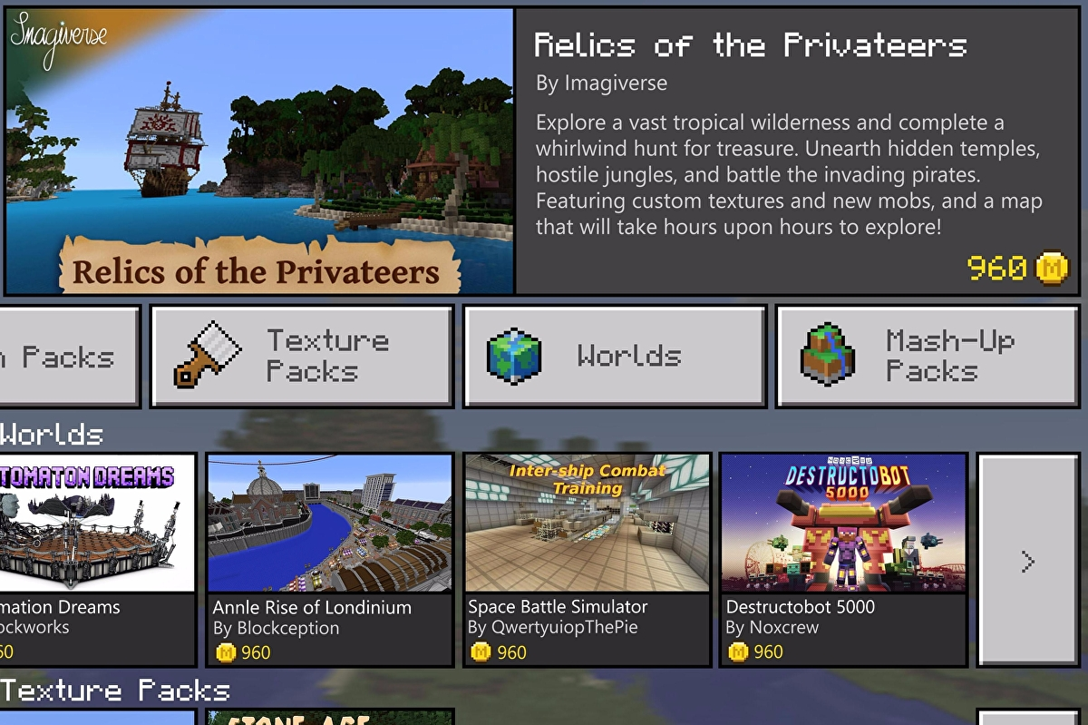 Microsoft reveals Minecraft Store with virtual currency