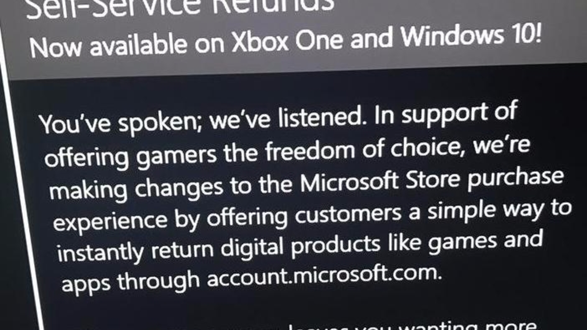 microsoft is adding self service refunds for digital xbox win10