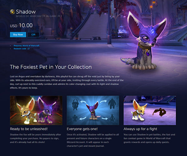 All proceeds of Blizzard's new WoW pet goes to disaster relief