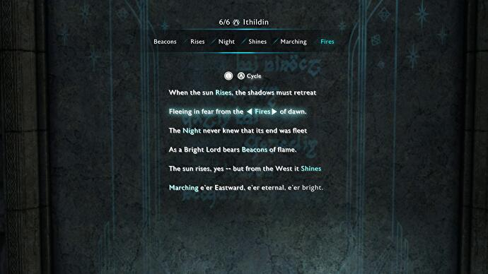 Shadow of War Ithildin Door poem solutions - Ithildin