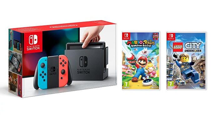 Nintendo_Switch_Neon_with_Mario_Rabbids_Kingdom_Battle_Lego_City_Undercover
