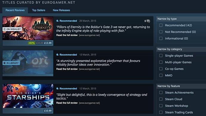 Steam's new Curator update aims to make its recommendations more