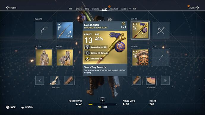 Assassin's Creed Origins weapons - how cursed and legendary