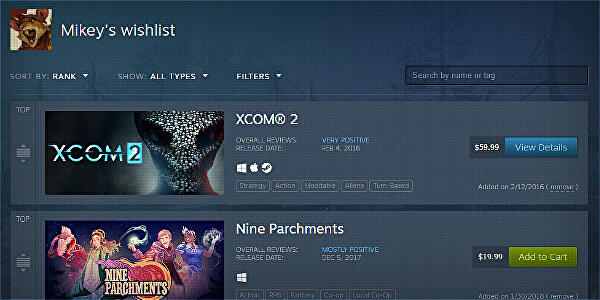 Valve overhauls Steam wishlists with new filters and sorting options