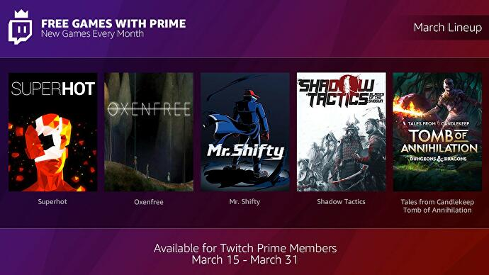 Twitch Prime subscribers will get free monthly games, starting this