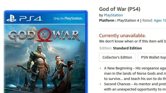 Upcoming PS4 exclusives God of War, Detroit and Spider-Man currently unavailable to pre-order from Amazon