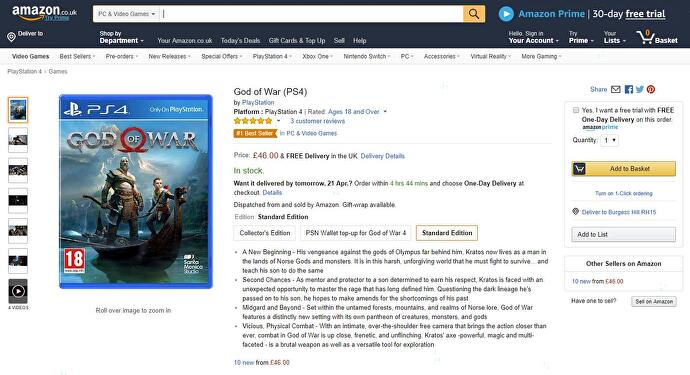 god of war limited edition ps4 amazon