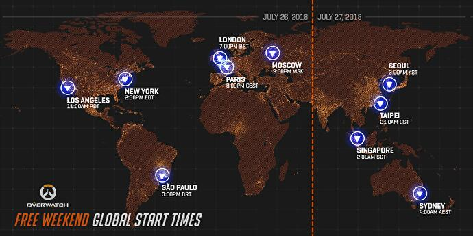 The free period will be available for players in Europe, Asia and the  Americas from 11:00am PDT (for British players, that's 7:00pm BST).