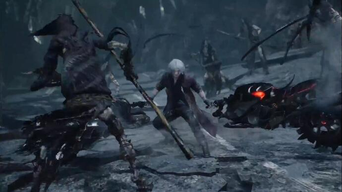Dante rips his motorbike in half and uses it as a weapon in new Devil May Cry 5 gameplay