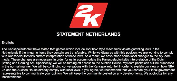 2K makes changes to NBA 2K microtransactions to comply with Belgium