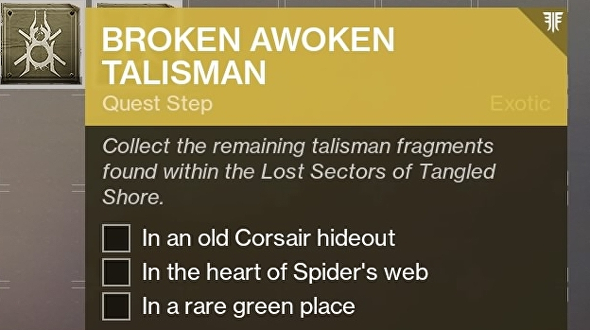 Destiny 2 Broken Awoken Talisman quest: Old Corsair hideout