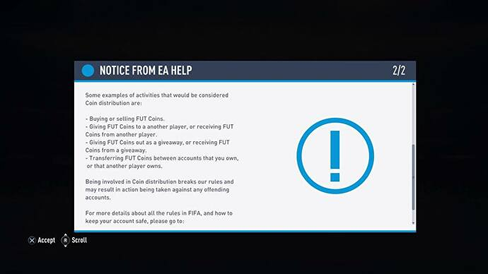 FIFA 19 in-game message warns FUT players against coin distribution