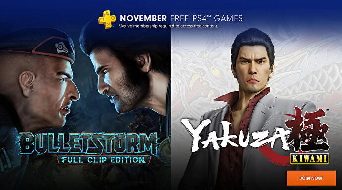 November PlayStation Plus games include Bulletstorm, Yakuza