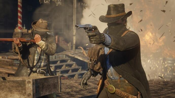 Red Dead Redemption 2 - gameplay ze strzelaniną