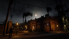 Red Dead 2 really delivers when it comes to building atmosphere. In this scene, billowing smoke stacks contrast against the gloomy sky as point lights encircle the factory in a realistic fashion.