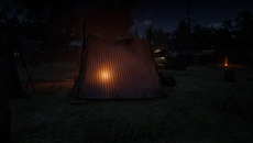 Light is transmitted through cloth - the bonfire on the other side of this tent is not only visible but its light scatters realistically across the cloth's surface.