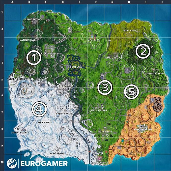 Fortnite letter locations: O near Pleasant Park, S in Wailing