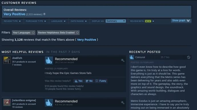 Metro Exodus players are leaving thousands of positive reviews - onSteam