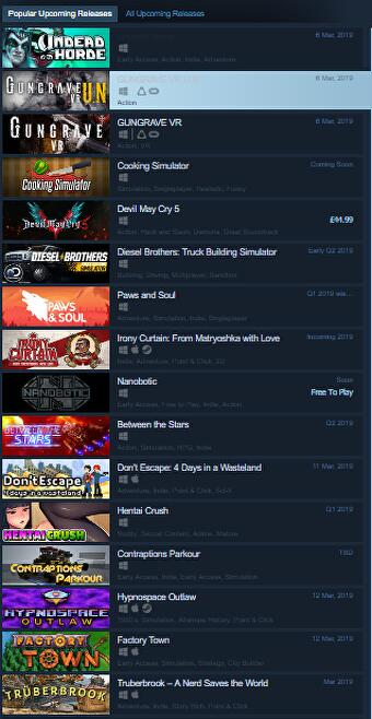 Steam list exploit allows developers to promote games using