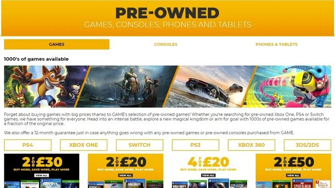 Pre-owned game sales are in freefall in the UK
