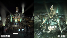 Final Fantasy 7 Remake compared to the original. The density of environmental detail is ramped up, especially in that iconic intro.