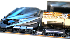 Alongside twin M.2 PCIe SSD slots, you'll find six SATA ports and dual USB headers.