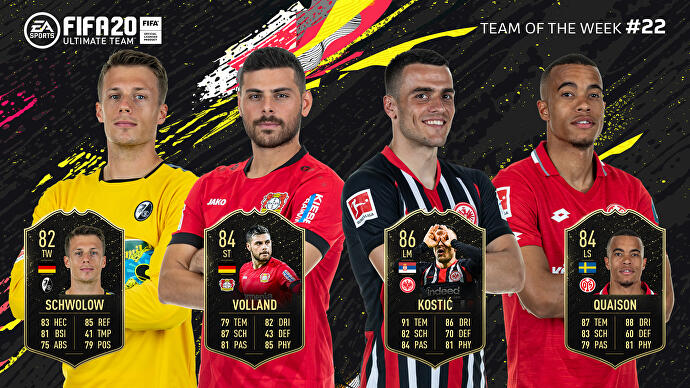 FIFA_20_TOTW_22_Team_of_the_Week_22_Schwolow_Volland_Kostic_Quaison
