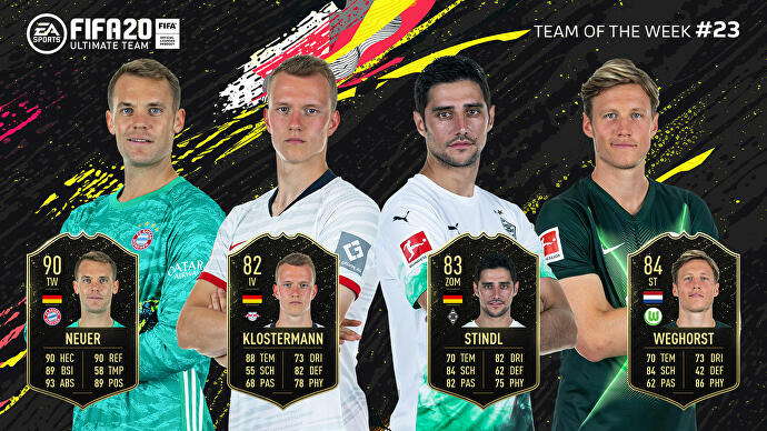 FIFA_20_TOTW_23_Team_of_the_Week_23_Neuer_Klostermann_Stindl_Weghorst
