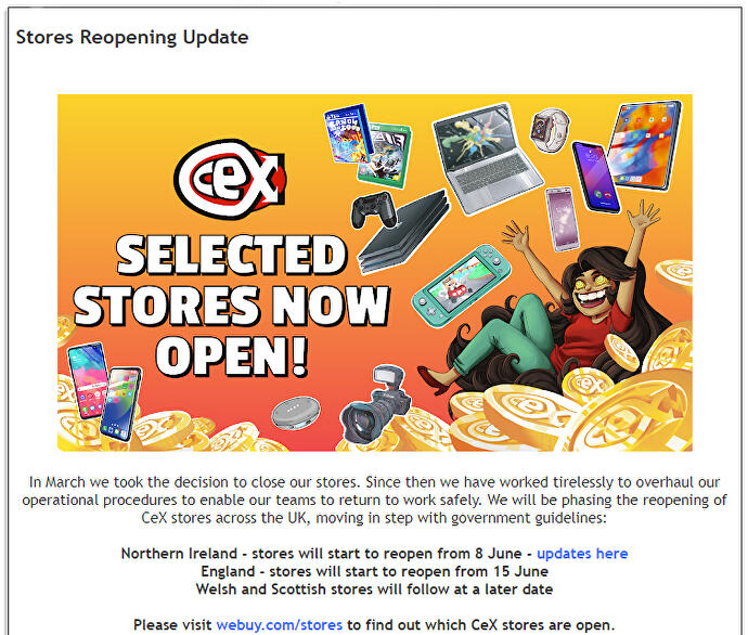 CEX staff react in dismay as stores set to re-open for browsing