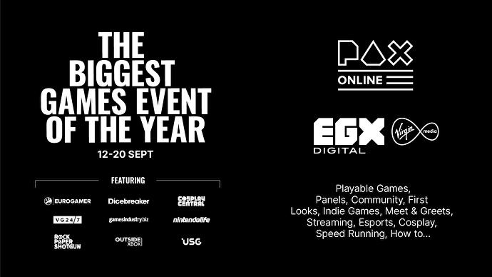 EGX and PAX to join forces for 9-day online event in September