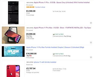 On Ebay People Are Selling Iphones With Fortnite Installed For Thousands Of Pounds Extra Eurogamer Net