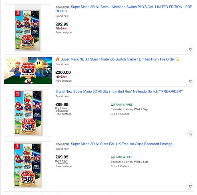 Scalpers are selling preorders of Super Mario 3D All-Stars for up to £200