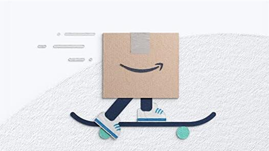 Artwork for Amazon Prime Day with a cardboard box on a skateboard