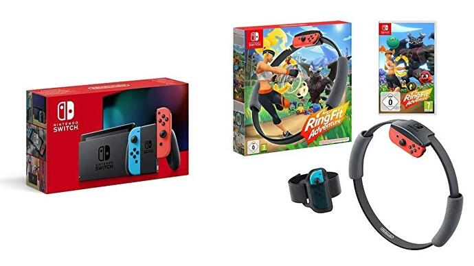 A Nintendo Switch box with Ring Fit Adventure game and accessory