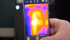 We used a Flir 1 thermal camera connected to an Android smartphone to do our thermal measurements of Xbox Series X.
