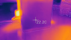 Areas at the bottom of the unit - especially around the optical drive - are cold to the touch, essentially at room temperature.