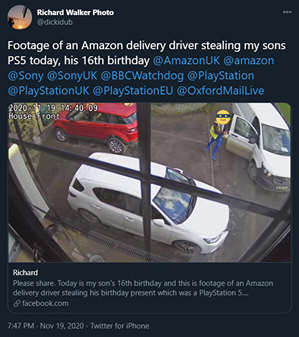 Amazon dumps driver who drove off with boy's birthday PS5