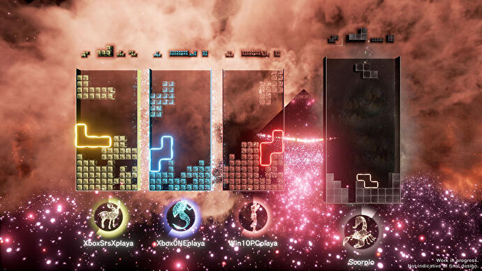 Four-player Tetris Effect: Connected gameplay