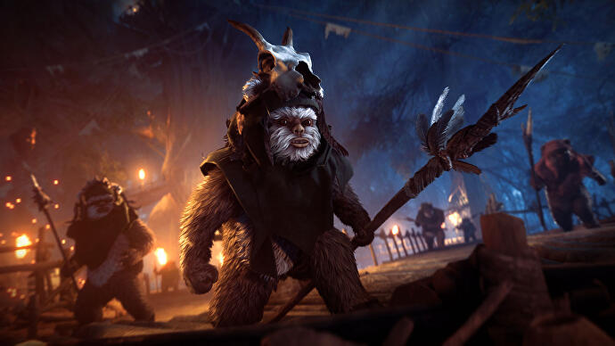 An ewok holding a spear at night in Star Wars Battlefront 2