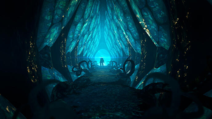 a_character_silhouette_at_the_end_of_a_shining_blue_tunnel