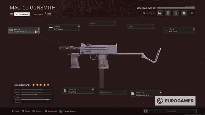 MAC-10 Gunsmith menu screen