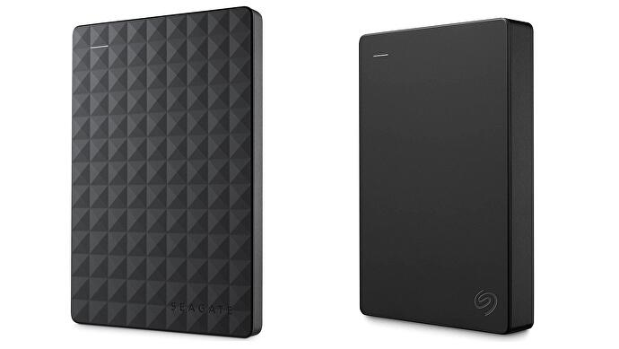 Two versions of the Seagate Portable external hard drive side by side