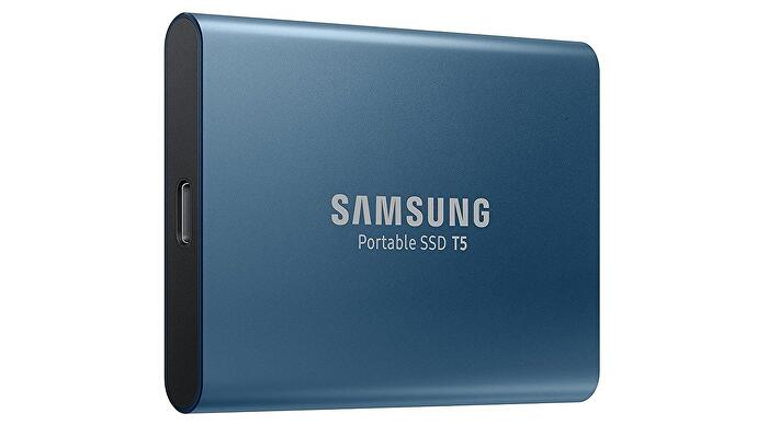 The Samsung T5 Portable SSD in blue