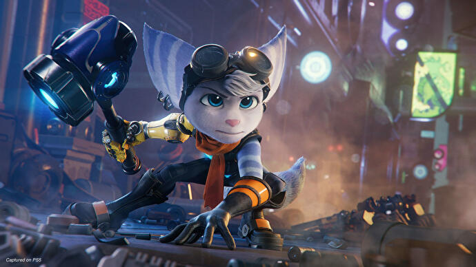 Rivet poses heroically in Ratchet and Clank Rift Apart