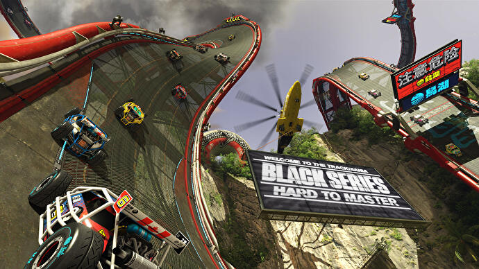 Cars race up vertical track in TrackMania Turbo